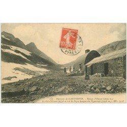 carte postale ancienne 65 OSSOUE. Refuge au Col et Pic du Vignemale 1914. Tampon Hotelleries de Montagne
