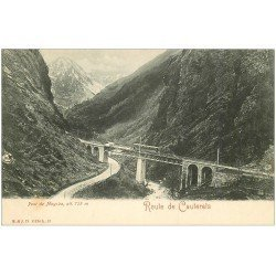 carte postale ancienne 65 ROUTE DE CAUTERETS. Tramway Pont de Mayaba vers 1900