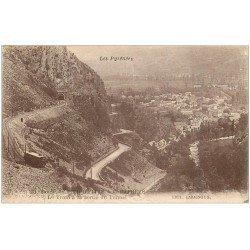 carte postale ancienne 65 ROUTE DE PIERREFITTE à CAUTERETS. Tram sortie du Tunnel