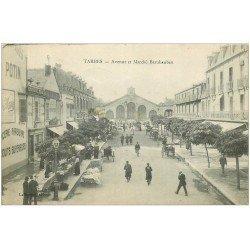 carte postale ancienne 65 TARBES. Epicerie Parisienne Avenue et Marché Brauhauban 1916