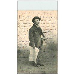 carte postale ancienne 65 TARBES. Thouens Chanteur de rue. Demander la Chanson de Ninette 1905. Vieux métiers