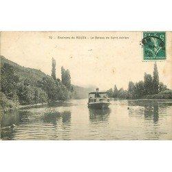 carte postale ancienne 76 LE BATEAU DE SAINT-ADRIEN 1910