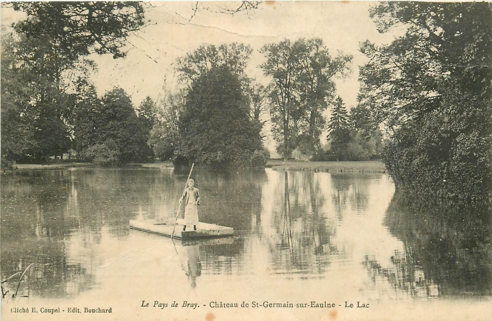 carte postale ancienne 76 CHATEAU DE SAINT-GERMAIN-SUR-EAULNE. Le Passeur sur le Lac 1923