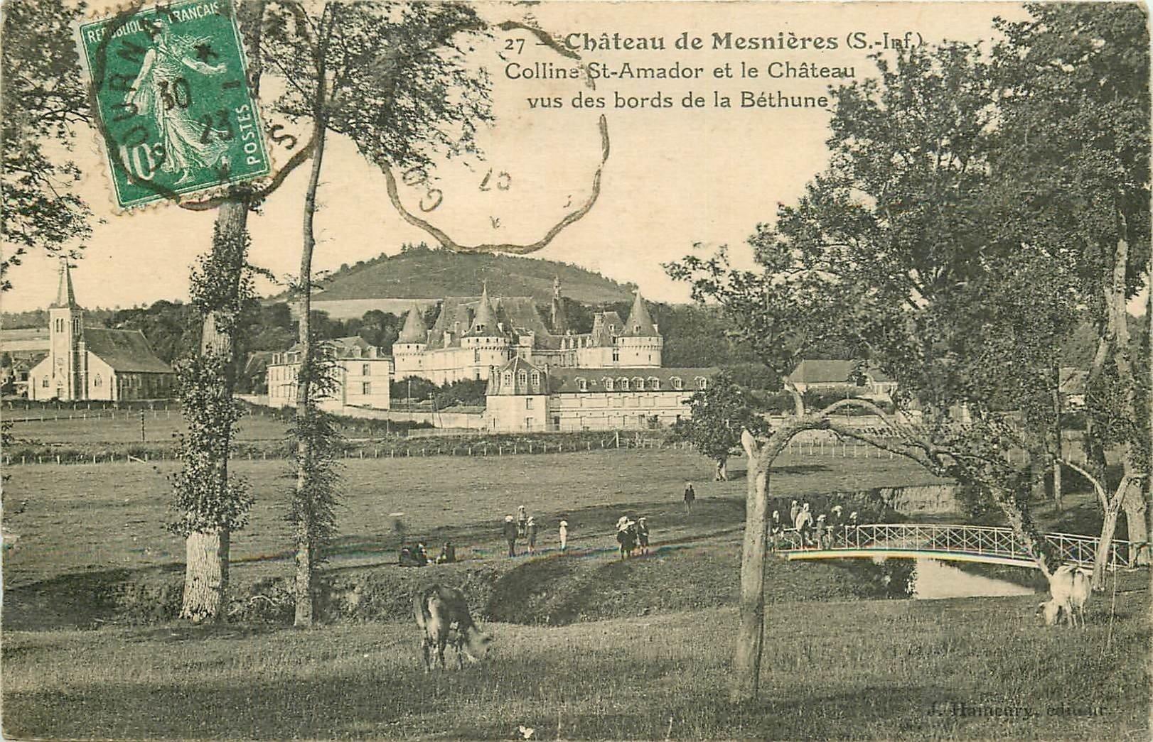 carte postale ancienne 76 CHATEAU DE MESNIERES. Colline Saint-Amour bords de la Béthune 1923 superbe animation