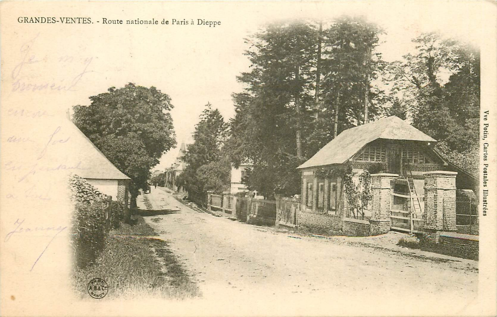 carte postale ancienne 76 GRANDES-VENTES. Route Nationale Paris Dieppe vers 1905