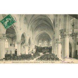 carte postale ancienne 76 GRUCHET-LE-VALASSE. Intérieur Eglise 1908