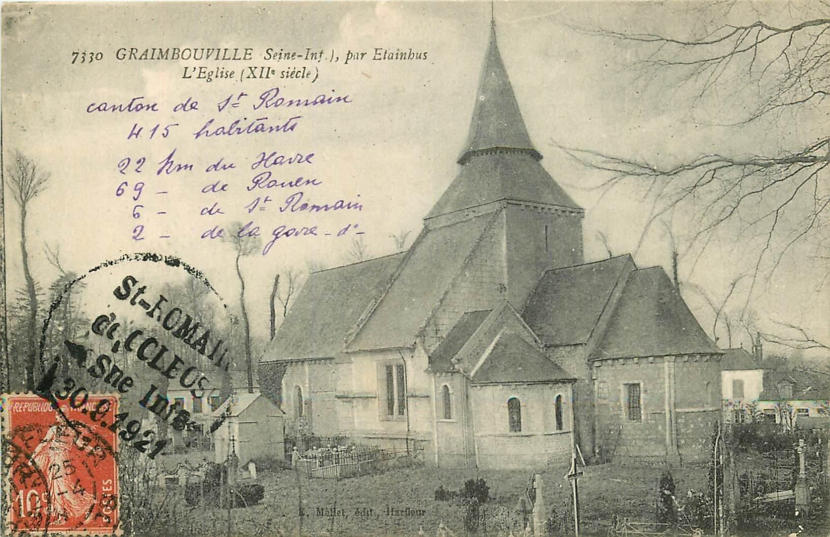 carte postale ancienne 76 GRAIMBOUVILLE. L'Eglise et Cimetière par Etainbus 1921