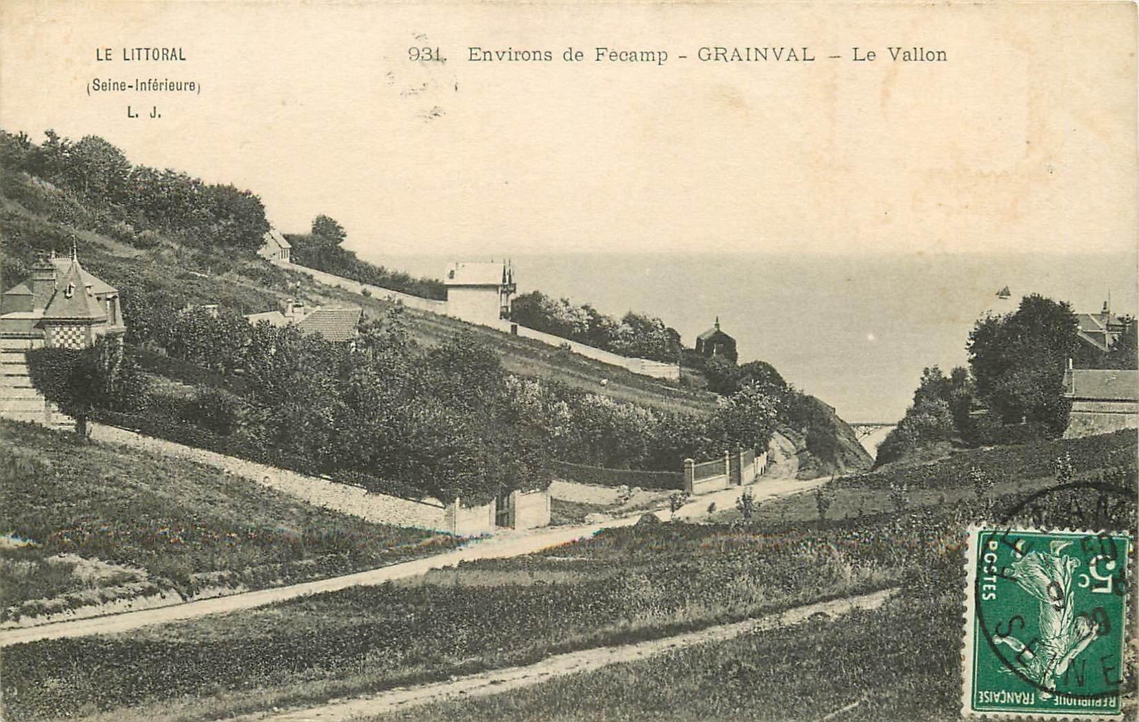 carte postale ancienne 76 GRAINVAL. Le Vallon 1909