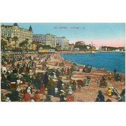 carte postale ancienne 06 CANNES. La Plage LL. 337