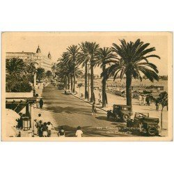 carte postale ancienne 06 CANNES. La Promenade de la Croisette 1939 voitures anciennes