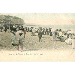 carte postale ancienne 76 DIEPPE. Terrasse du Casino vers 1900