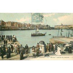 carte postale ancienne 76 DIEPPE. Le Bateau Mercure rentrant de Promenade 1906. Timbre Taxe et T du Facteur