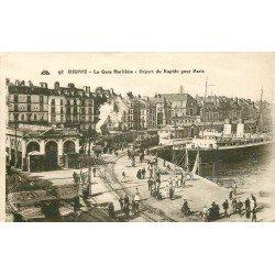 carte postale ancienne 76 DIEPPE. La Gare Maritime départ du Train Rapide pour Paris