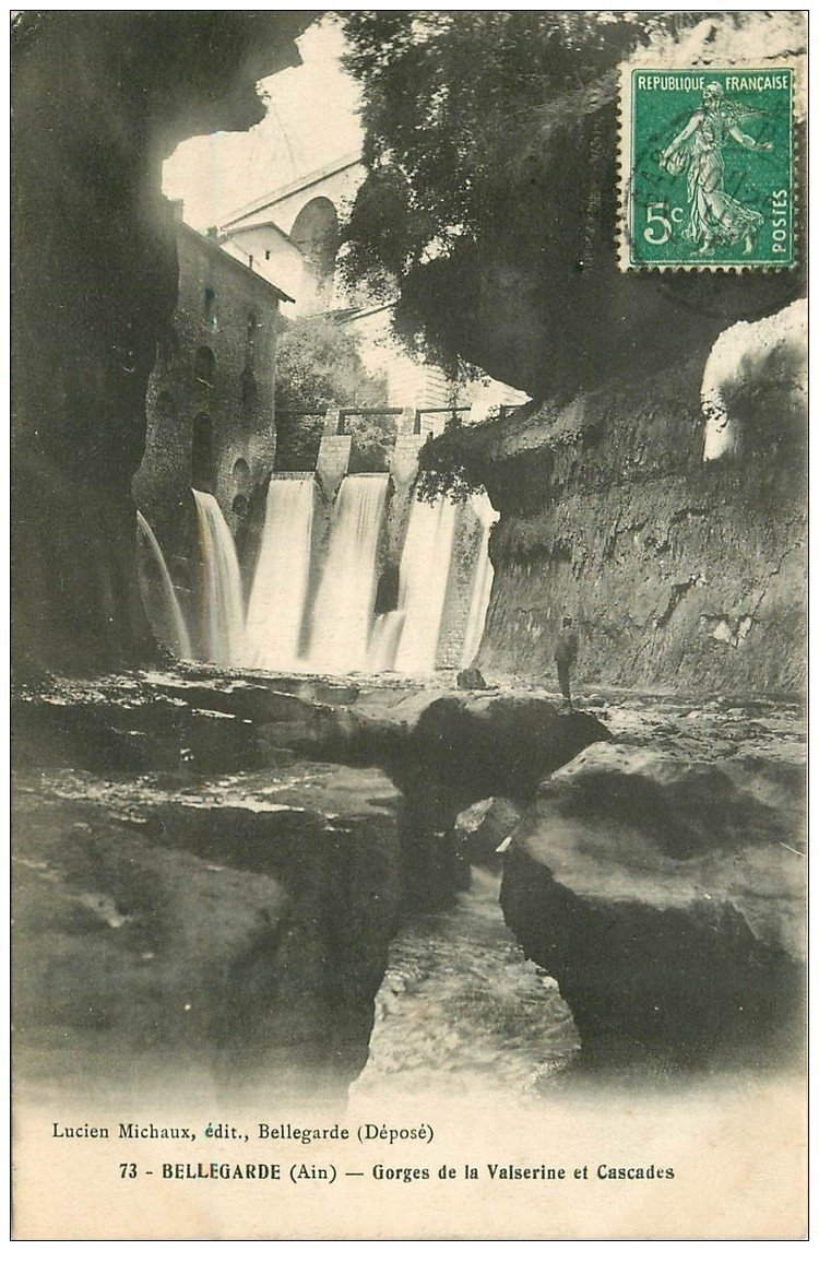 carte postale ancienne 01 Bellegarde. Gorges de la Valserine et Cascades 1911