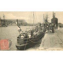 carte postale ancienne 76 LE TREPORT. Le Torpilleur ALARME au Bassin 1908