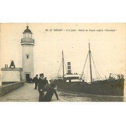 carte postale ancienne 76 LE TREPORT. Entrée du Vapeur Anglais ENVERMEN 1914