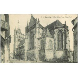 carte postale ancienne 76 AUMALE. Eglise animation