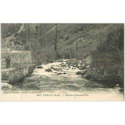 carte postale ancienne 01 TENAY. Route d'Hauteville. Pêcheurs à la ligne