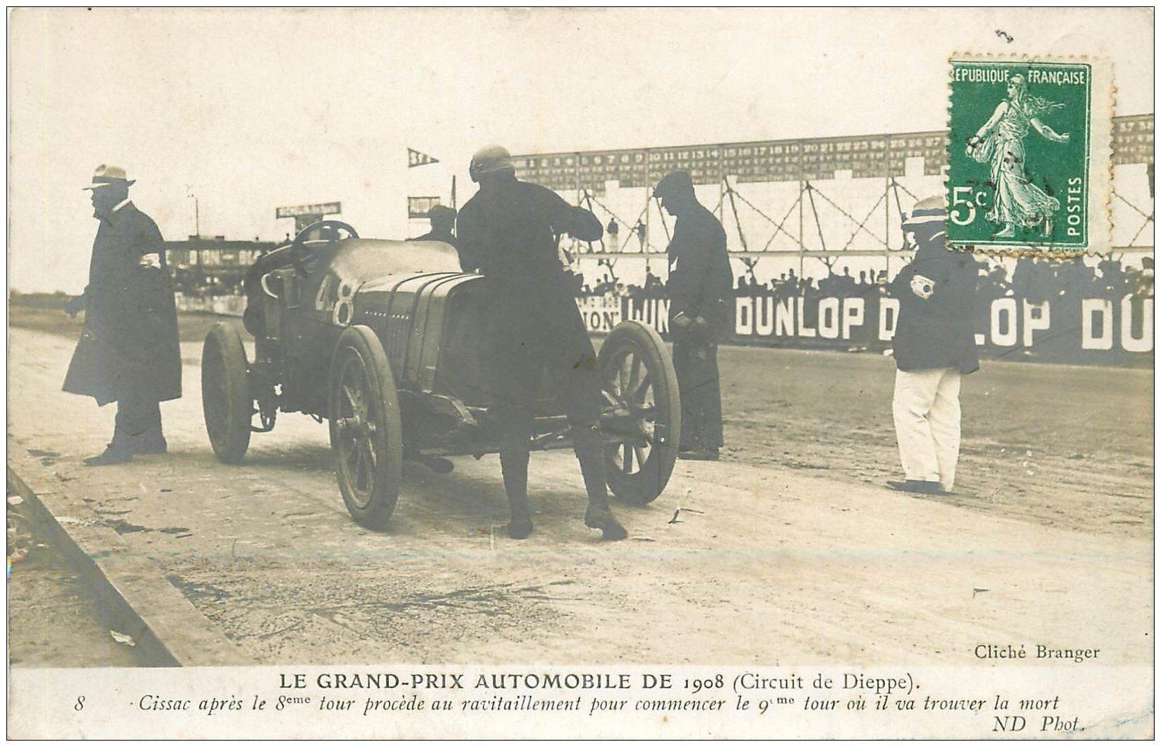 76 DIEPPE. Grand Prix Automobile. Ravitaillement de Cissac avant sa mort 1908