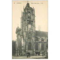 carte postale ancienne 76 ELBEUF. Eglise Saint-Jean attelage et poussette