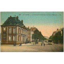 carte postale ancienne 76 LE HAVRE. Boulevard Strasbourg Caisse Epargne