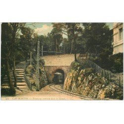 carte postale ancienne 06 CAP MARTIN. Tramway rentrant dans le Tunnel (rapée et trou punaise verso droit)...