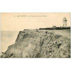 carte postale ancienne 76 LE HAVRE. Falaises vers Phares
