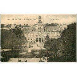 carte postale ancienne 76 LE HAVRE. Hôtel de Ville et Jardin 1925