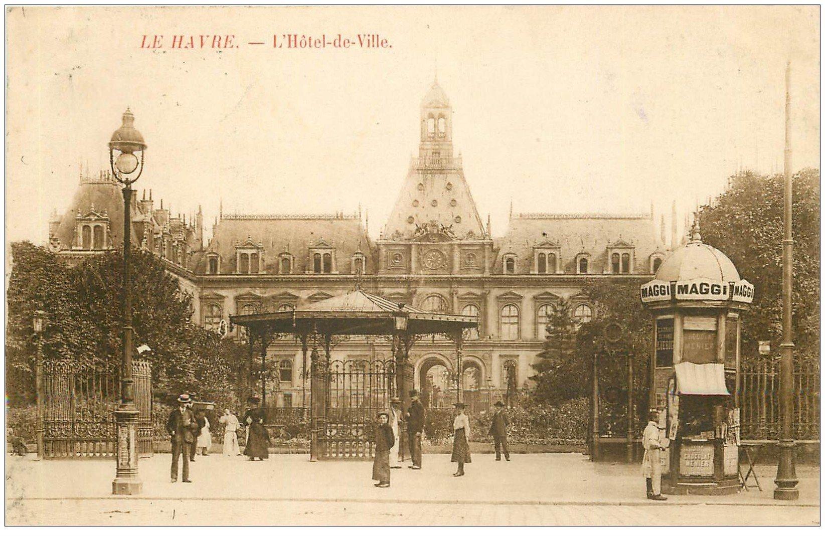 76 le havre h tel de ville et kiosque journaux maggi 1907 for Boutique hotel le havre