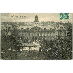 carte postale ancienne 76 LE HAVRE. Hôtel de Ville Jardin Public