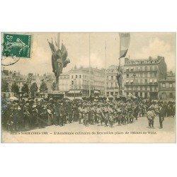 carte postale ancienne 76 ROUEN. Académie culinaire de Bruxelles Place Hôtel de Ville 1909