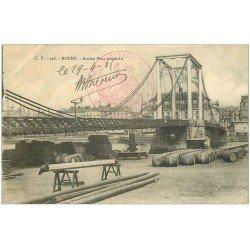 carte postale ancienne 76 ROUEN. Ancien Pont Suspendu. Tampon Train sanitaire