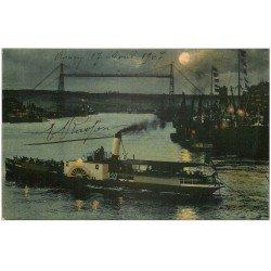 carte postale ancienne 76 ROUEN. Bateau de Nuit 1907