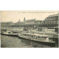 carte postale ancienne 76 ROUEN. Bateaux Bouille Quai de Paris