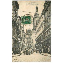 carte postale ancienne 76 ROUEN. Beffroi Rue Grande Horloge 1912
