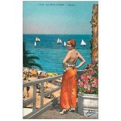 carte postale ancienne 06 Côte d'Azur. Série Pyjama Adia 11512