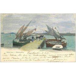 carte postale ancienne 06 GOLFE JUAN. Débarquadère 1903. Voiliers et Marins