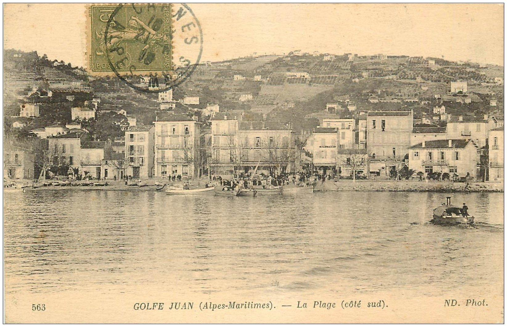 carte postale ancienne 06 GOLFE JUAN. La Plage 1919