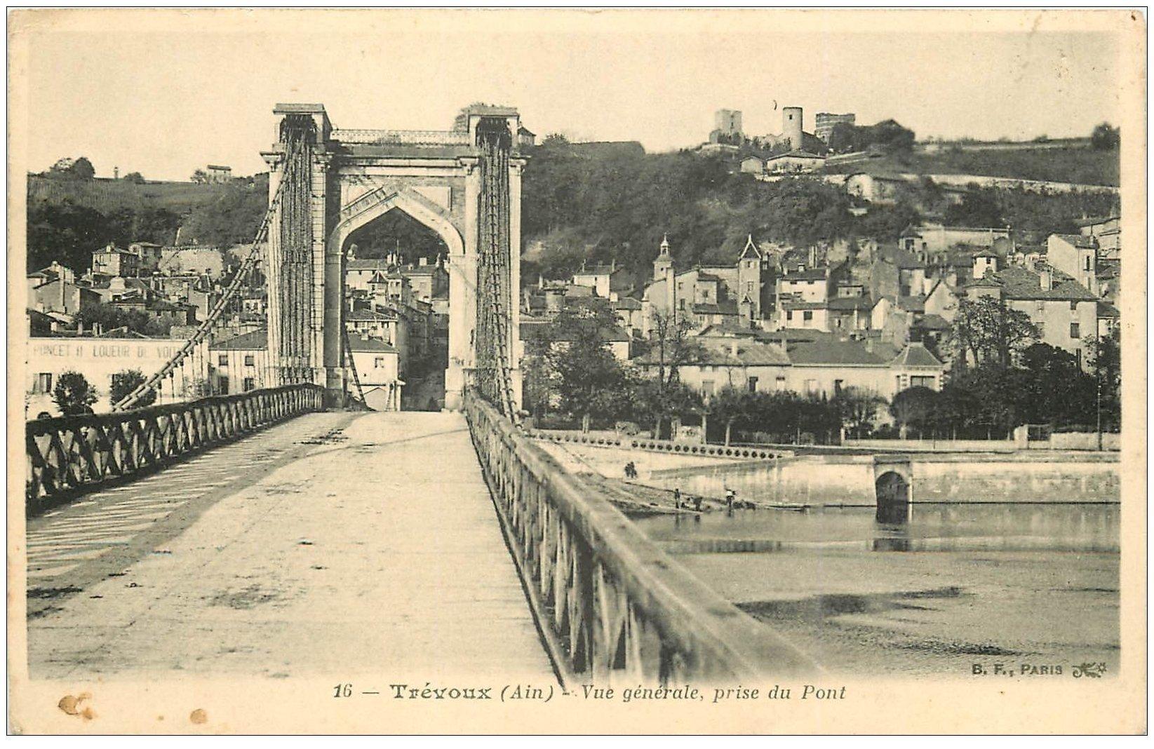 carte postale ancienne 01 TREVOUX. Le Pont et Lavandières en dessous