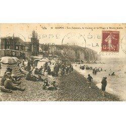 carte postale ancienne 76 DIEPPE. Falaises, Casino et Plage 1927