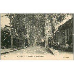 carte postale ancienne 06 GRASSE. Boulevard du Jeu de Ballon. Grand Café MonteèCarlo et Hôtel de la Poste