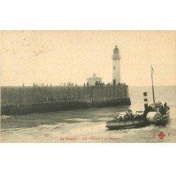 carte postale ancienne 76 LE TREPORT. Départ d'un Vapeur 1907. Edition Fleuri