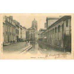carte postale ancienne 76 ELBEUF. La Rigole vers 1900