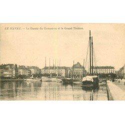 carte postale ancienne 76 LE HAVRE. Bassin du Commerce et Grand Théâtre