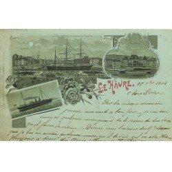 carte postale ancienne 76 LE HAVRE. Bassin du Commerce Place Gambetta et navire La Gascogne 1904