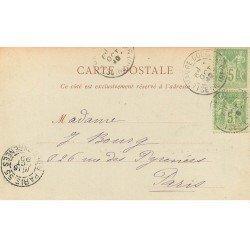 carte postale ancienne 76 LE HAVRE. 1899 Anse des Pilotes et Musée. Timbres 5 centimes 1899