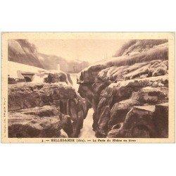 carte postale ancienne 01 Bellegarde. La Perte du Rhône en hiver vers 1930