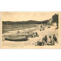 carte postale ancienne 06 JUAN-LES-PINS. La Plage avec baigneurs