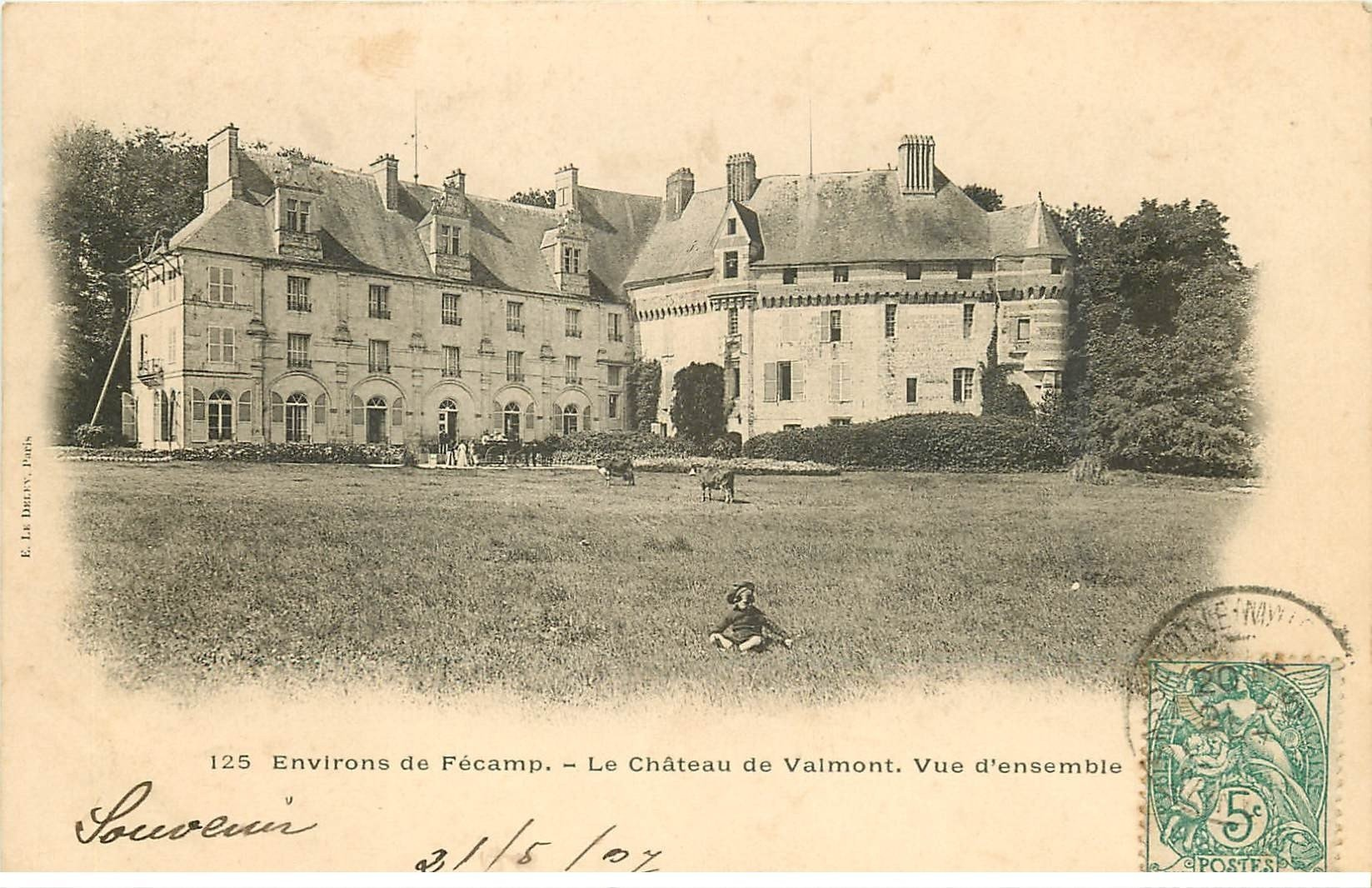 carte postale ancienne 76 CHATEAU DE VALMONT. Belle animation 1907