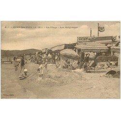 carte postale ancienne 06 JUAN-LES-PINS. Plage et Baigneurs 1927